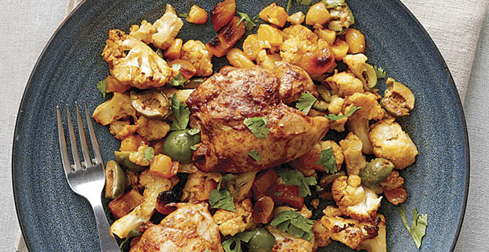 Curried Chicken Thighs with Cauliflower, Apricots and Olives