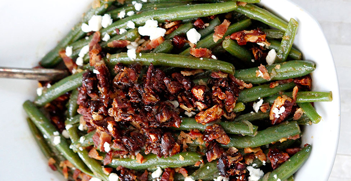 Dijon Maple Green Beans with Caramelized Pecans, Bacon, and Feta